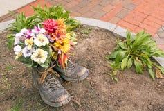 Les fleurs plantées dans de vieilles paires fonctionnent ou augmentant des bottes photographie stock