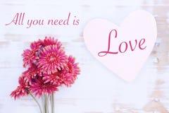 Les fleurs rouges avec le coeur et les mots en bois tous que vous avez besoin est amour Photographie stock libre de droits