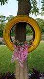 Les fleurs sur les pneus sont favorables à l'environnement Images libres de droits
