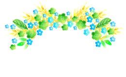 Les fleurs verdissent, jaunissent, bleu et épi Photo libre de droits