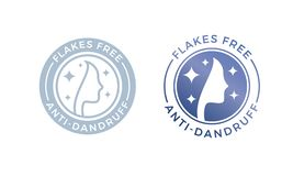 les flocons d'Anti-pellicules libèrent l'icône de logo pour la conception d'huile de shampooing ou de cheveux illustration libre de droits
