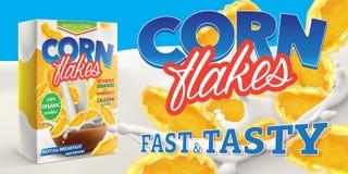 Les flocons d'avoine enferment dans une boîte l'affiche de la publicité avec le carton de lait et l'illustration réaliste de gran illustration de vecteur