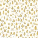 Les flocons drôles d'arbre et de neige de Noël d'or dirigent le modèle Belle forêt d'hiver illustration stock