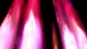 Les fontaines colorées rougeoient la nuit dans la ville Coloré éclabousse et voyage en jet de l'eau sur un fond noir banque de vidéos