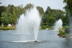 Les fontaines dans l'étang i image libre de droits
