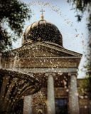 Les fontaines de Sobornaya Ploschad' que la cathédrale ajustent au centre d'Odessa, Ukraine Photographie stock libre de droits