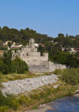 Les Fonts. Spain, Catalonia, Barcelona Province, View of the Les Fonts Castle stock image