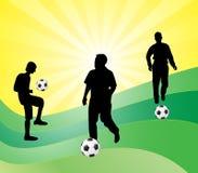 Les football et joueurs illustration stock