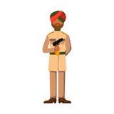Les forces militaires de silhouette d'homme d'armure de symbole d'arme de caractère de soldat d'Inde conçoivent et marine américa Images stock