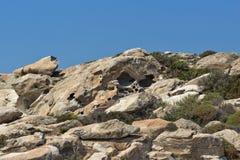 Les formations de roche dans les kolymbithres échouent, île de Paros, Grèce Photographie stock libre de droits