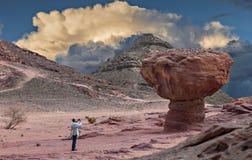 Les formations géologiques en nature abandonnent la vallée du parc de Timna, Israël photo libre de droits