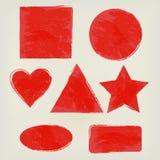 Les formes d'aquarelle éclabousse la triangle, cercle, coeur, ellipse, rectangle, place, tiennent le premier rôle le rouge Élémen Images libres de droits