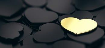 Les formes d'or et noires de coeur, trouvent l'amour parfait Image libre de droits