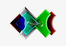 les formes 3d futuristes dirigent le fond abstrait fait de morceaux brillants avec des effets de la lumi?re photographie stock