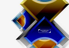 les formes 3d futuristes dirigent le fond abstrait fait de morceaux brillants avec des effets de la lumi?re photographie stock libre de droits