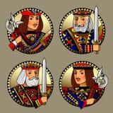 Les formes rondes avec des visages de jouer carde des caractères illustration de vecteur
