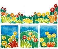 Les formes simples de fleur sont des aquarelles Image libre de droits