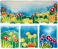 Les formes simples de fleur sont des aquarelles Image stock