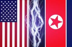 Les foudres effectuent entre les drapeaux des Etats-Unis et la Corée du Nord Concept de conflit entre deux nations, Washington et Photos stock