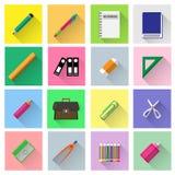 Les fournitures scolaires dirigent l'ensemble Image stock