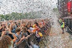 Les fréquences perdues exécute vivant au festival de week-end d'atlas Kiev, Ukraine images libres de droits