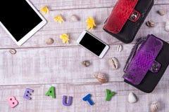 Les frais généraux de l'des bases objectent dans un blogger de mode Vue supérieure des sacs à main, de mot et de x22 de peau de s Photographie stock