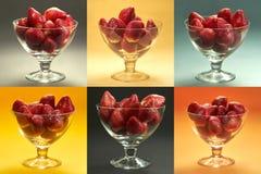 Les fraises en verre met en forme de tasse la mosaïque - six places différent colorées dans un cadre photos libres de droits