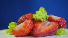 Les fraises se ferment du plat blanc sur le fond bleu-foncé Un ensemble de fraise fraîche Mouvement lent banque de vidéos