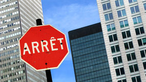 Les Français urbains arrêtent le signe Images stock