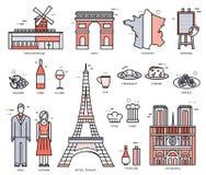 Les Frances de pays se déclenchent le guide des marchandises, endroits dans les lignes minces conception de style Ensemble d'arch Image stock