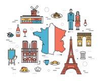 Les Frances de pays se déclenchent le guide des marchandises, endroits dans les lignes minces conception de style Ensemble d'arch Images stock