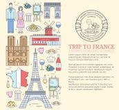 Les Frances de pays se déclenchent le guide des marchandises, endroits dans les lignes minces conception de style Ensemble d'arch Photographie stock