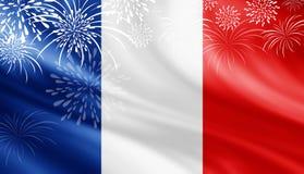 Les Frances diminuent avec le fond de feux d'artifice pour le jour de bastille du 14 juillet Images stock