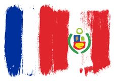 Les Frances diminuent et Peru Flag Vector Hand Painted avec la brosse arrondie illustration stock