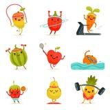 Les fruits drôles font des exercices de forme physique Ensemble de bande dessinée de vecteur avec des nourritures de régime Image stock