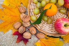 Les fruits et les écrous d'oranges sont dans le panier image libre de droits
