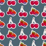 Les fruits frais de cerise de bande dessinée en été sans couture de nourriture de fond de modèle de style plat conçoivent l'illus Image libre de droits