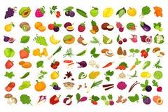 Les fruits, les légumes, les baies et les épices ou le vecteur de champignons ont isolé des icônes réglées illustration stock