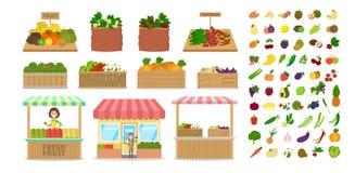 les fruits ont placé des légumes Nourriture dans la boîte en bois illustration de vecteur