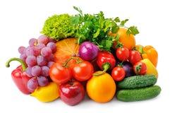 les fruits ont placé des légumes Image libre de droits