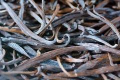 Les fruits secs de gousses de vanille sur le marché de Rarotonga font cuire Islands Photos stock