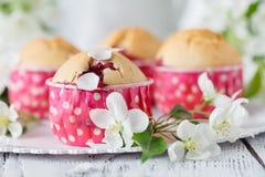Les gâteaux aux pommes faits maison ont décoré la fleur de pomme sur le DES en bois blanc Images stock