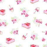 Les gâteaux délicieux, les fleurs et le vecteur sans couture de clés impriment Images stock