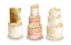 Les gâteaux de mariage dirigent l'aquarelle Ensembles délicieux de gâteaux de cru illustration libre de droits
