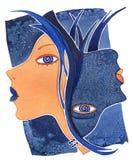 Les Gémeaux-girlб font face à la fille en tant que Gémeaux de symbole d'astrologie sur un fond de modèle image stock