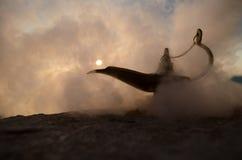 Les génies artisanaux antiques de nuits d'Aladdin Arabian dénomment la lampe à pétrole avec de la fumée de blanc de lumière molle Photos libres de droits