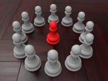 Les gages d'échecs ont arrangé autour d'un gage rouge moyen illustration de vecteur