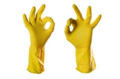 les gants approuvent le jaune en caoutchouc de signe Images stock