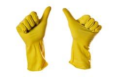 les gants approuvent le jaune en caoutchouc de signe Photographie stock libre de droits