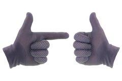 Les gants de travail est point le symbole de doigt photo stock